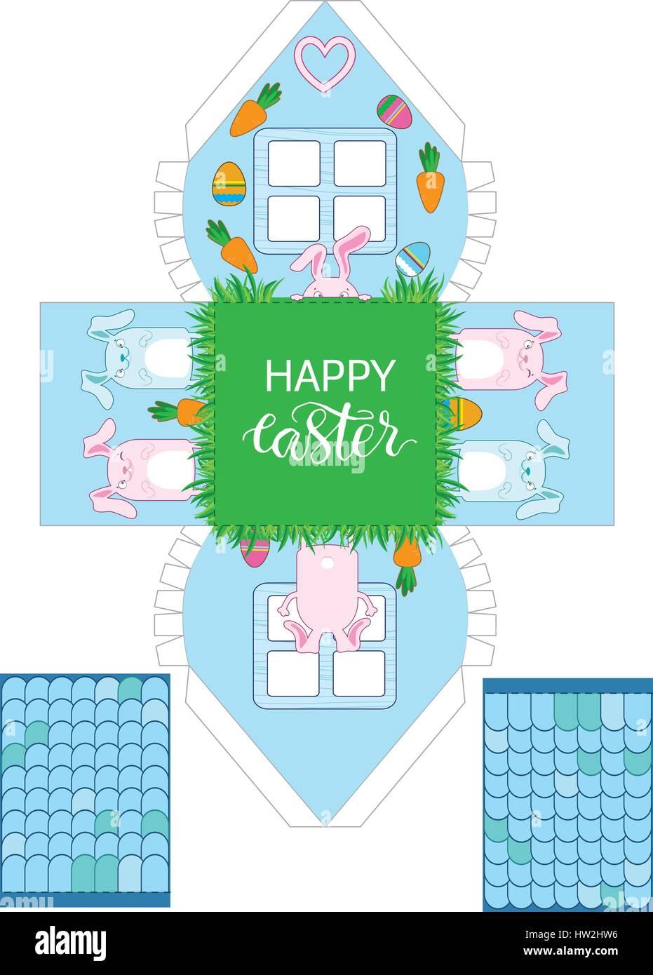 Druckbare Geschenk Ostern Haus Mit Banny Eiern Und Karotten Ostern