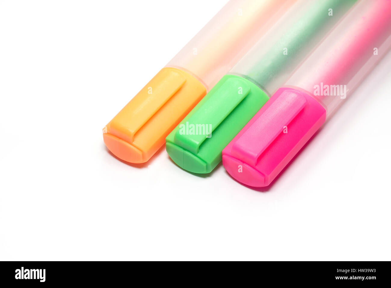 Bunte Textmarker Marker oder zentra Stift Stockfoto
