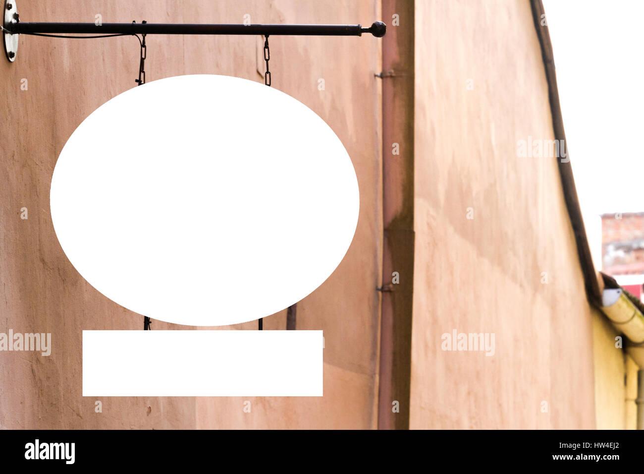 Leere Schild an der Wand im Freien, mock-up Stockfoto, Bild ...
