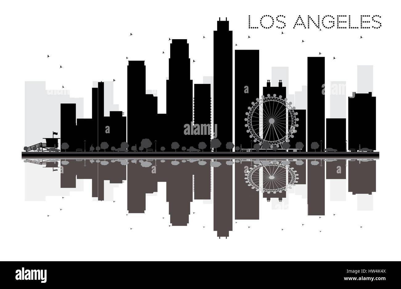 los angeles skyline der stadt schwarze und weiße silhouette mit reflexion.  vector illustration. einfache flache konzept für tourismus präsentation,  banner stock-vektorgrafik - alamy  alamy