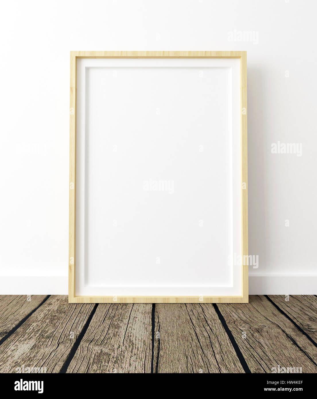 Plakat Mockup auf weißem Hintergrund, Holz Rahmen, leer Interieur ...