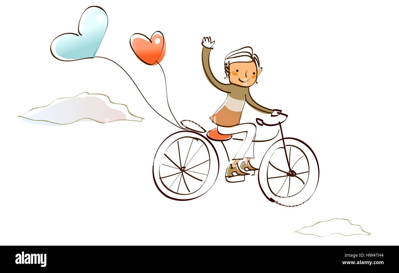 Ballon, Fahrrad, Reisen, Clipart, Cloud, Farbe, Farbe, Farbe, Image ...
