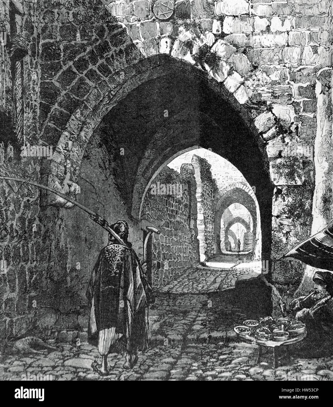 Israel. Jerusalem. Die Via Dolorosa. Straße in der Altstadt, wo angenommen wird, dass Jesus auf dem Weg zu Stockbild