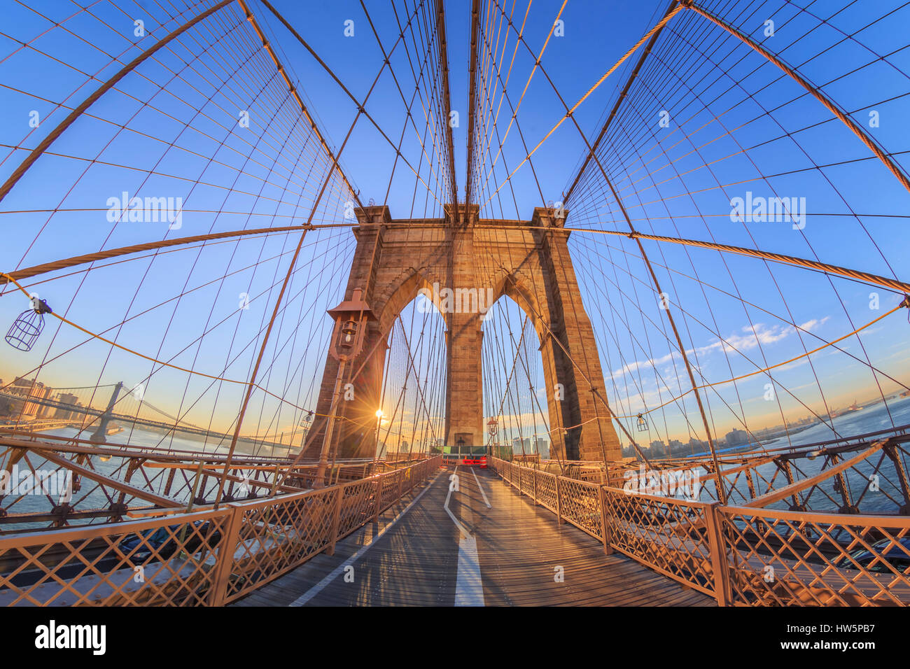 USA, New York und Brooklyn Bridge Stockbild