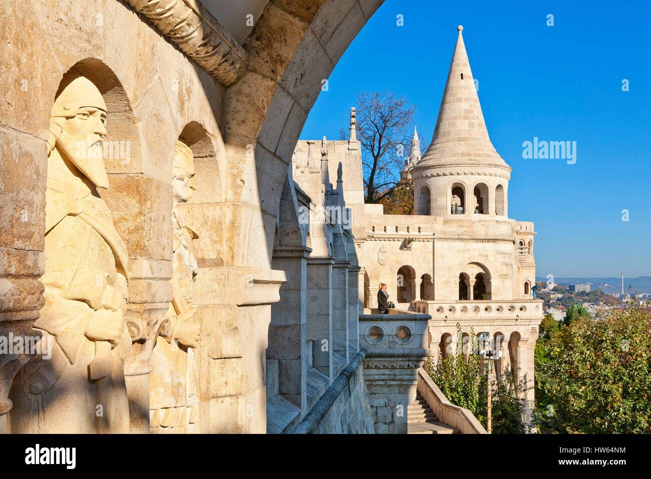 Ungarn, Budapest, Weltkulturerbe der UNESCO, Fischerbastei Stockbild