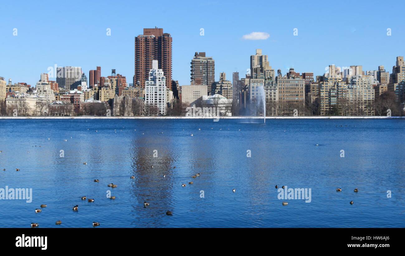 Winter im Central Park, New York, NY Stockbild