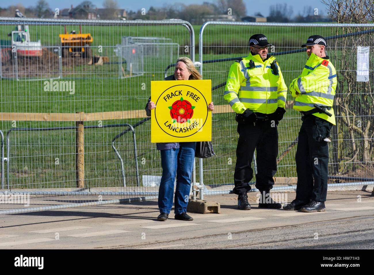Anti-Fracking Demonstrant. Stockbild