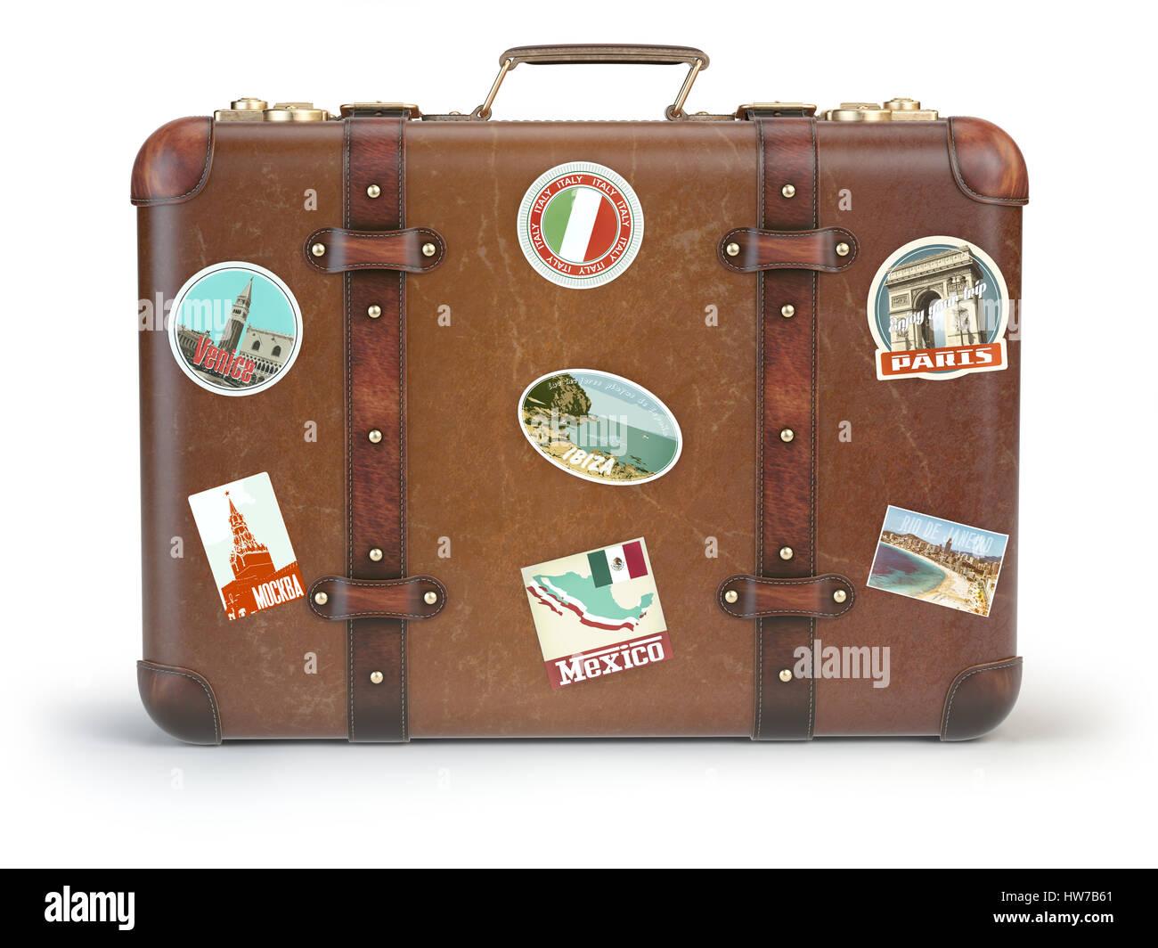 vintage koffer mit reisen aufkleber isoliert auf wei em hintergrund 3d illustration stockfoto. Black Bedroom Furniture Sets. Home Design Ideas