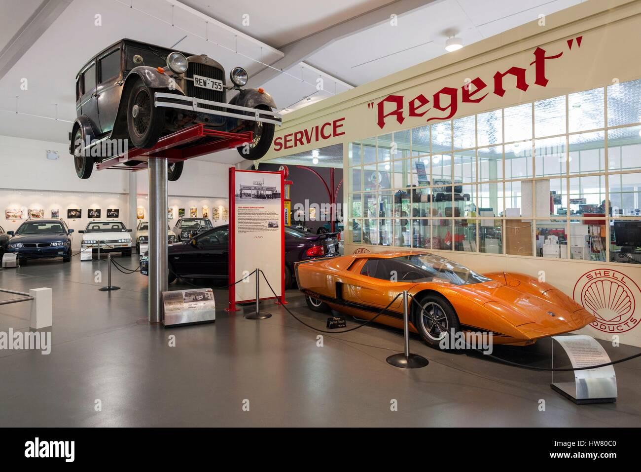 Australien, South Australia, Adelaide Hills, Birdwood, National Motor Museum, innen Tankstelle Stockbild