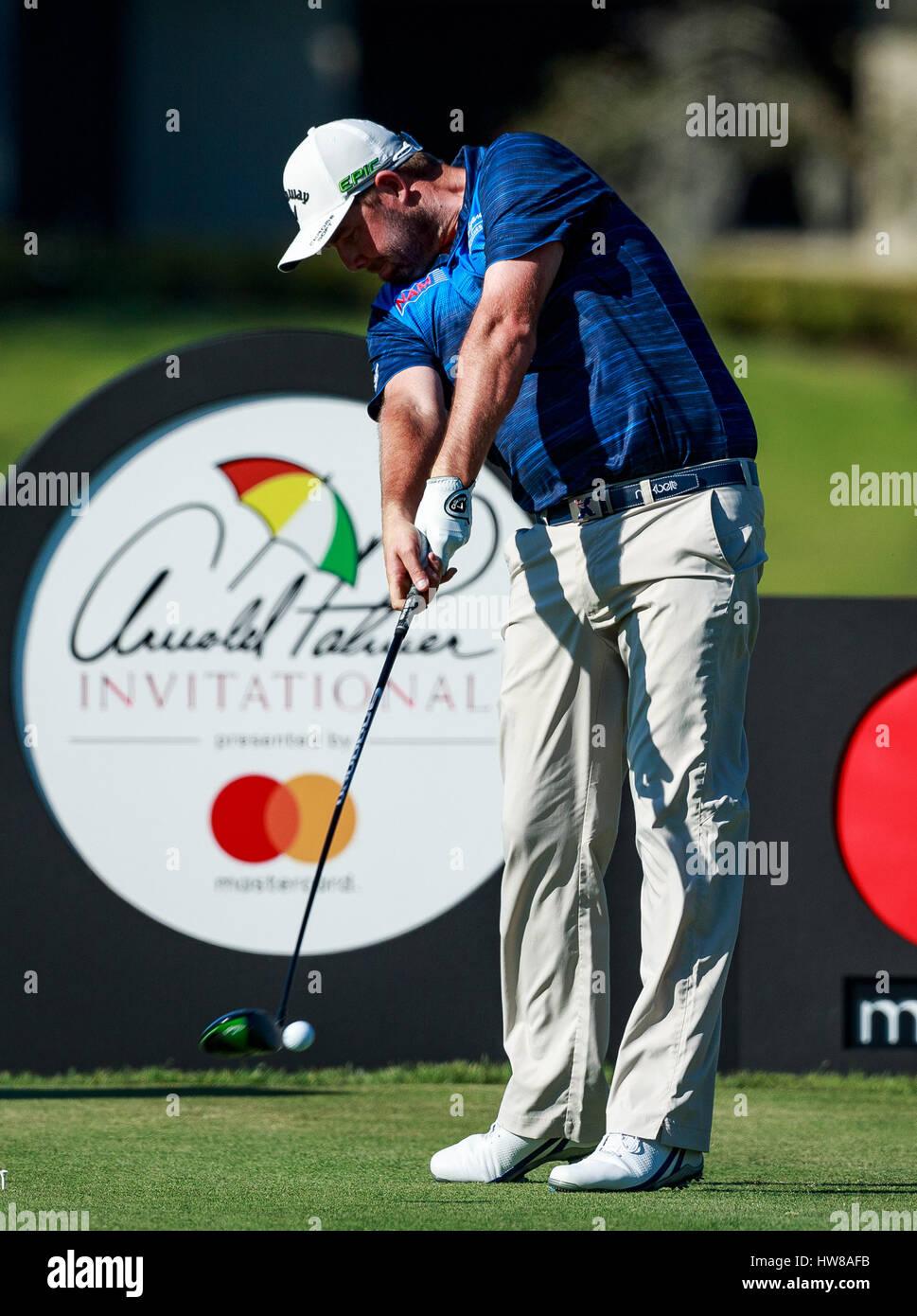 18. März 2017 - Orlando, Florida, USA-Marc Leishman Australiens am 16. Abschlag in der 3. Runde der Arnold Palmer Stockfoto