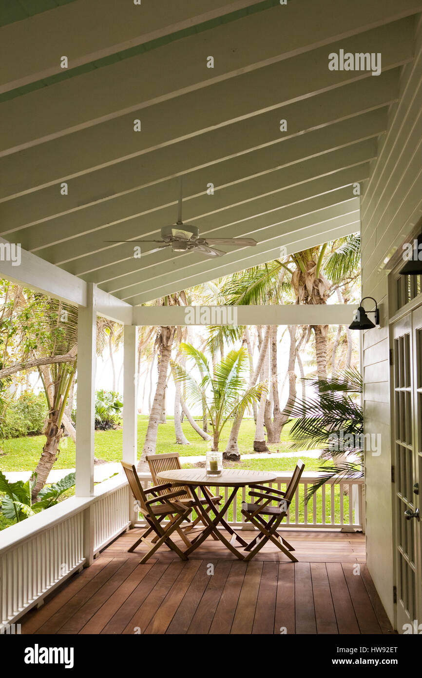 Veranda in Islamorada, Florida, einer Insel in den Florida Keys Stockbild
