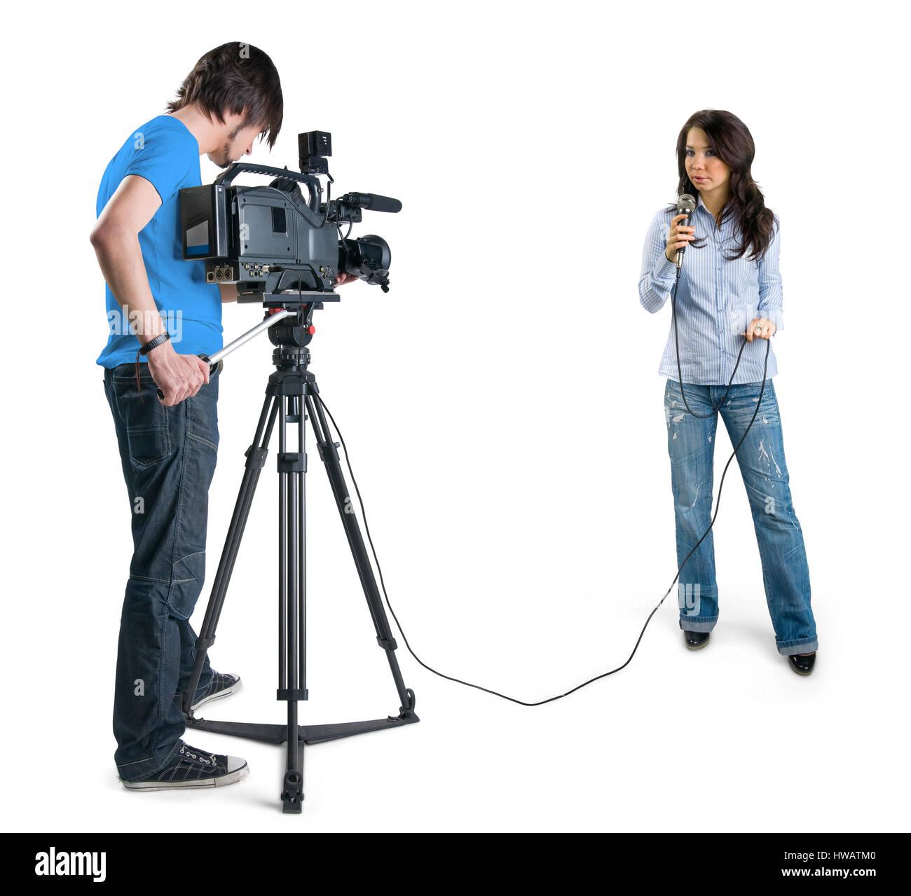 TV-Reporter präsentiert die Nachrichten im Studio, isoliert auf weißem Hintergrund Stockbild