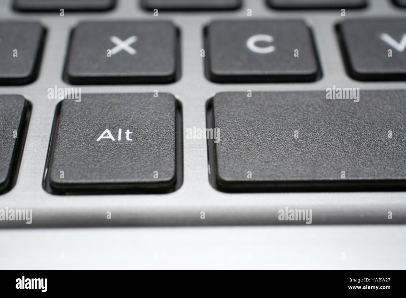 Moderne Laptop Tastatur Nahaufnahme. Alt-Taste. Geringe Schärfentiefe. Stockbild