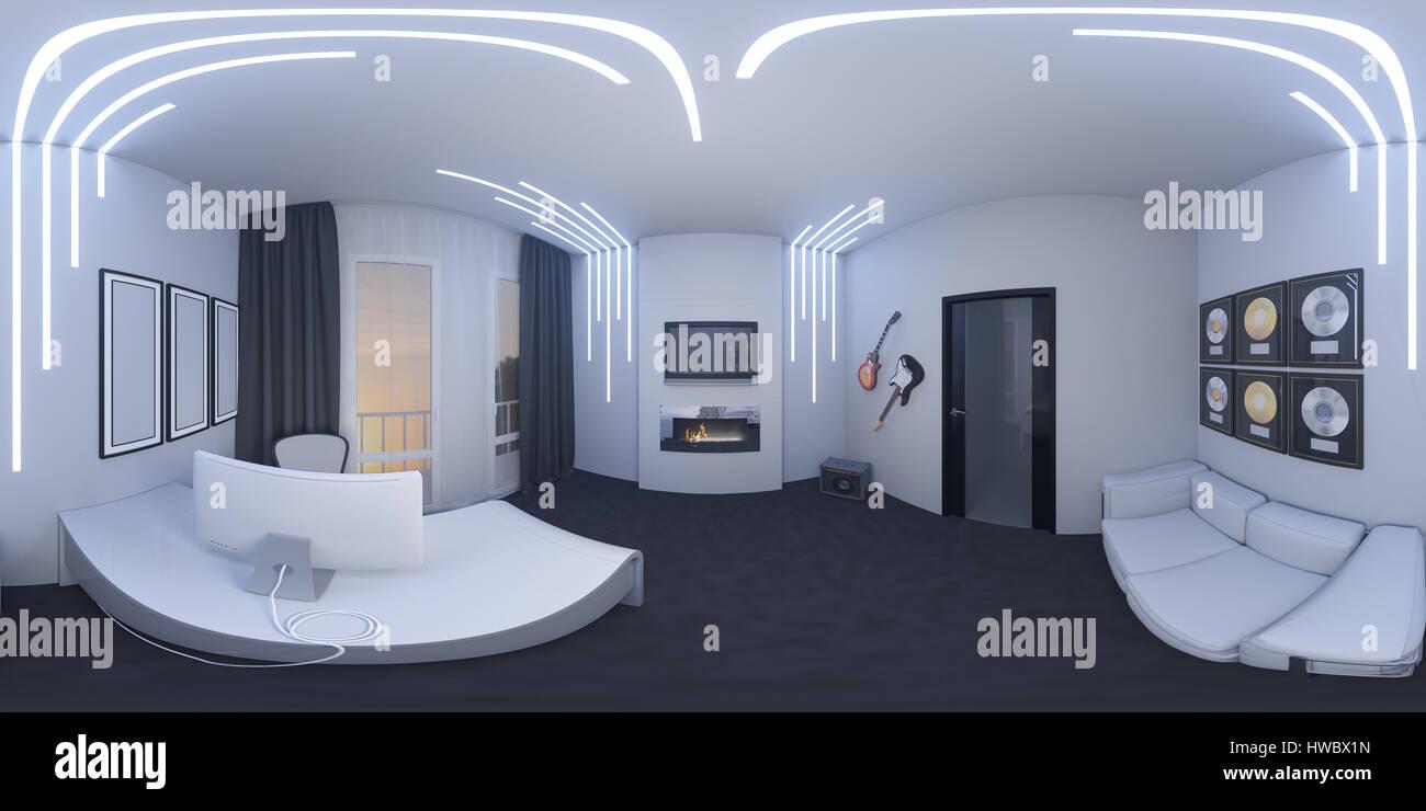 Interior Home Office Design   3d Abbildung Des Interior Designs Von Einem Home Office In Einem