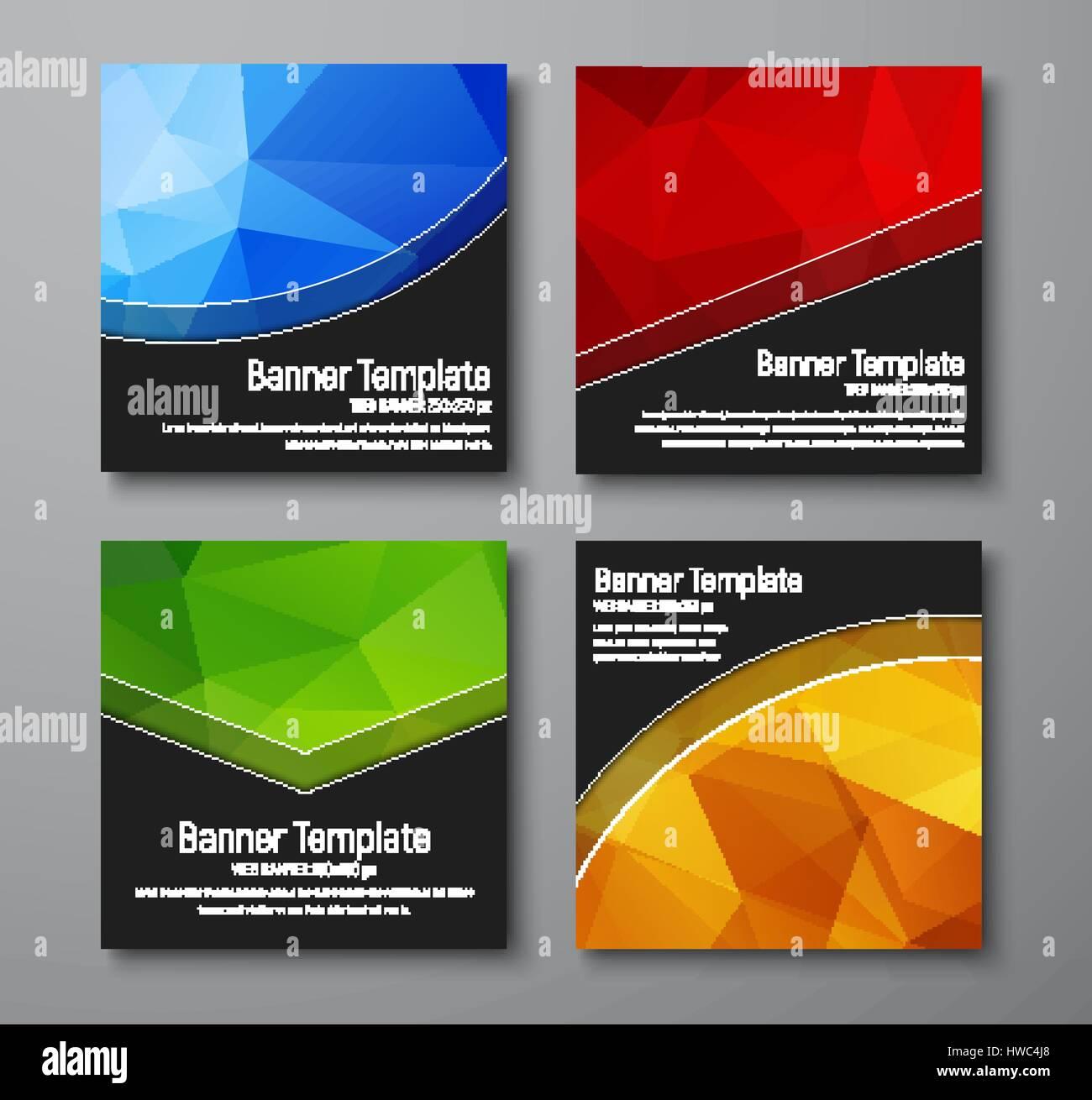 Quadratische Web-Banner zu entwerfen. Vorlagen mit gold, blau, rot ...