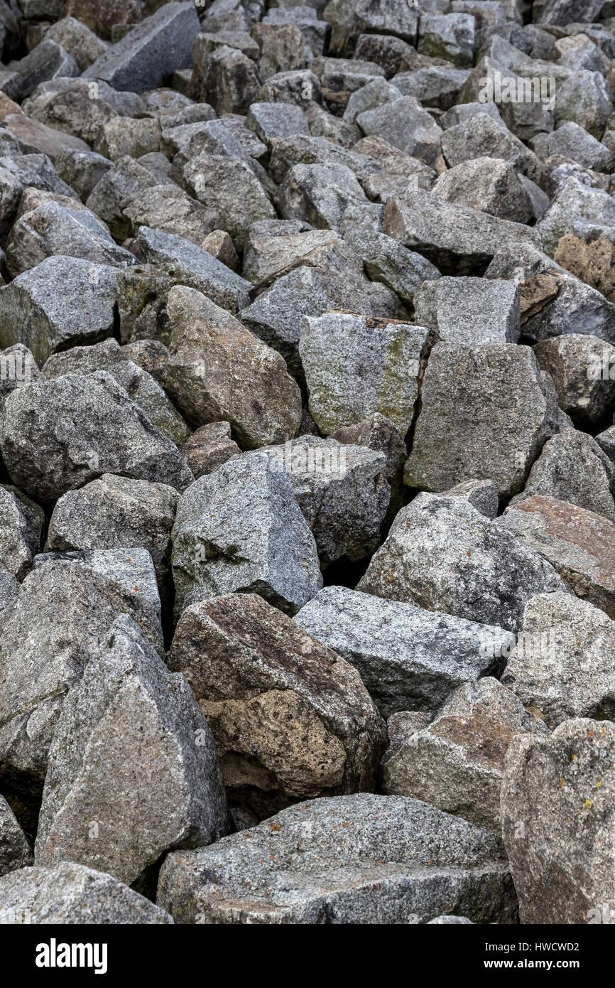 Ein Haufen aus Natursteinen liegt Seite an Seite. Symbolische Foto, Ein Stapel aus Natursteinen so Nebeneinander. Stockbild