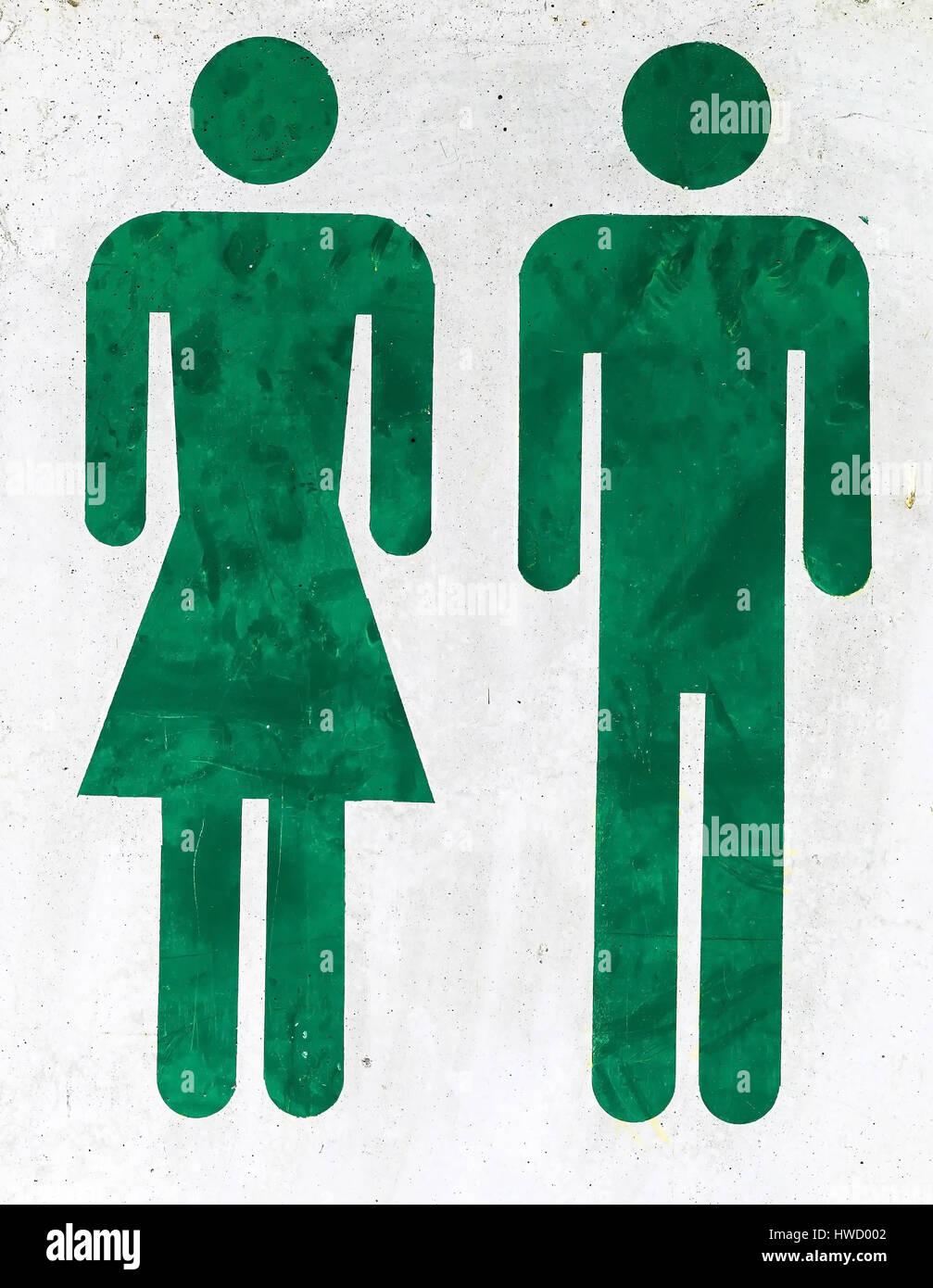 Zeichnung von Mann und Frau mit dem Eingang eines WC., Zeichnung von Mann Und Frau Beim Eingang Einer Toilette. Stockbild