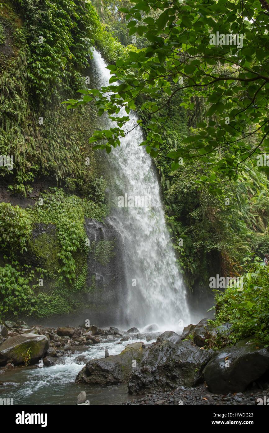 Sendang Gila Wasserfall, Senaru, Lombok, Indonesien Stockbild
