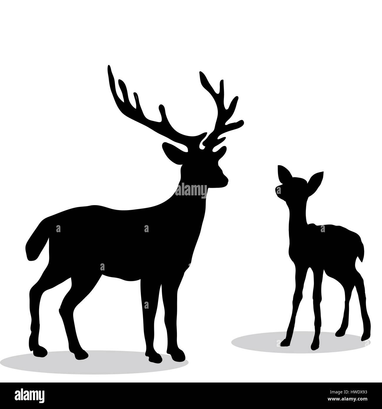 schwarze silhouette hirsch und reh wei er hintergrund vektor abbildung bild 136144991 alamy. Black Bedroom Furniture Sets. Home Design Ideas