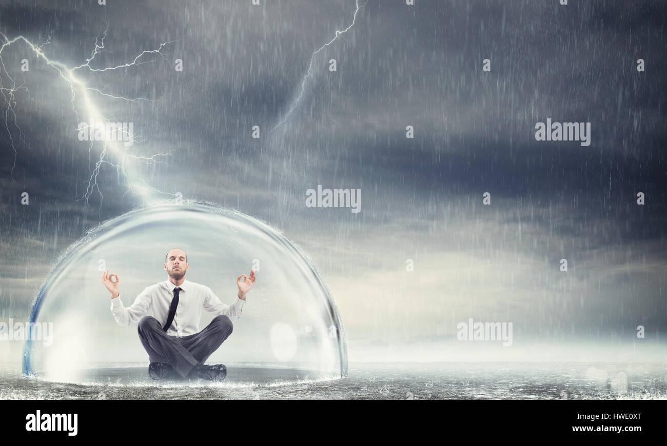 Schützen Sie die Finanz- und Gelassenheit Stockfoto
