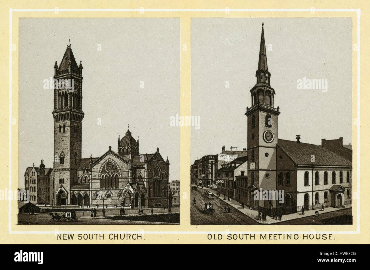 Antike 1883 monochromen Drucken aus einem Souvenir-Album, zeigt die New Old South Church und Old South Meeting House Stockbild