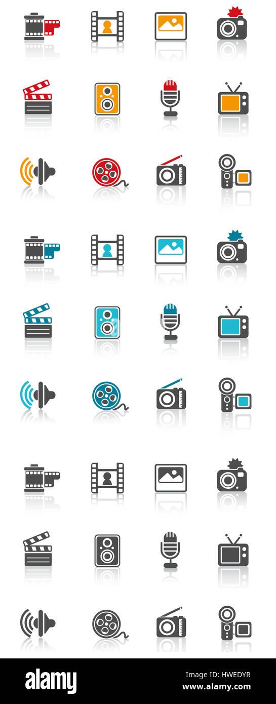 Symbol, Symbole, Symbole, fernsehen, tv, Computer, Lautsprecher ...