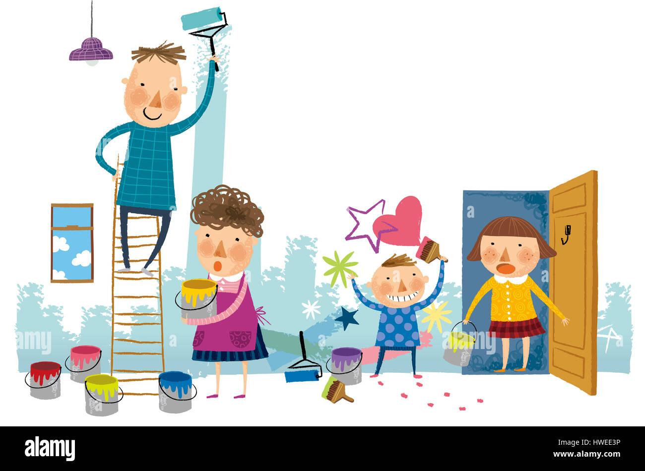 Vater, Mutter, Frau, Mann, Kinder, Kind, Junge, Mädchen, glücklich ...