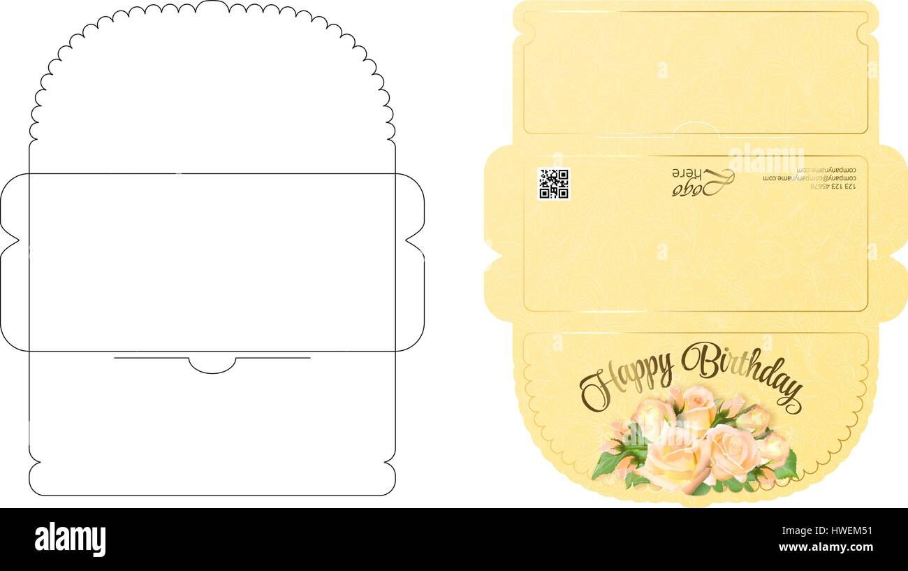 Briefumschlag Vorlage mit Lappendesign. Leicht zu Falten. Bereit zum ...