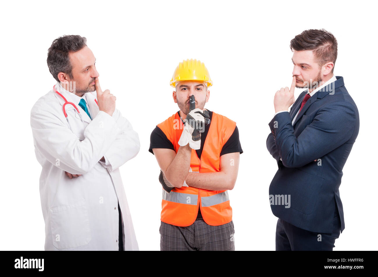 Gruppe von Menschen mit verschiedenen Berufen machen Psst Geste als Stille Konzept isoliert auf weißem Hintergrund Stockbild