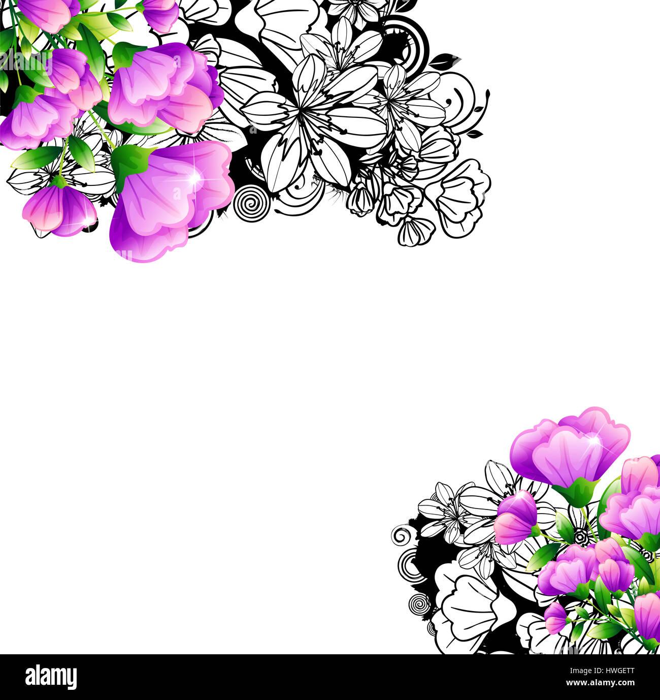Muster, Design, Farbe, Blumen, Blume, Swirl, Label, Form, schwarz ...