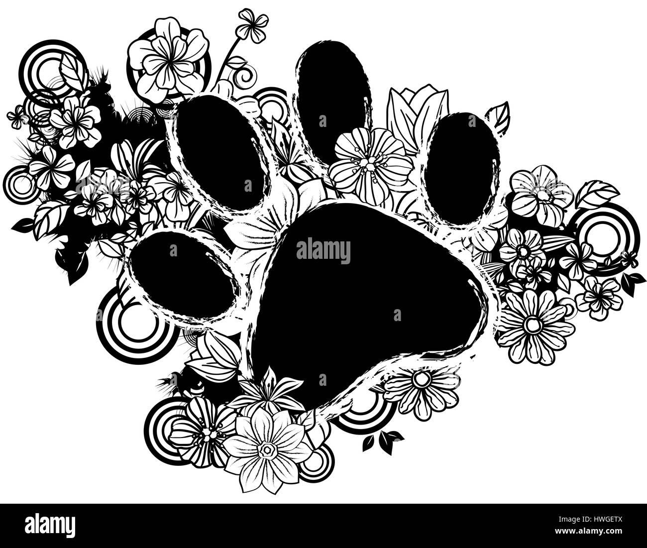 Muster Design Farbe Blumen Blume Swirl Label Form Schwarz