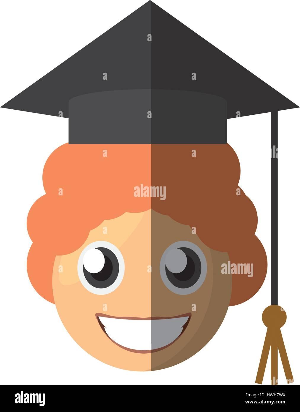Junge Absolventen Emoticon Cartoon Vektor Abbildung Bild