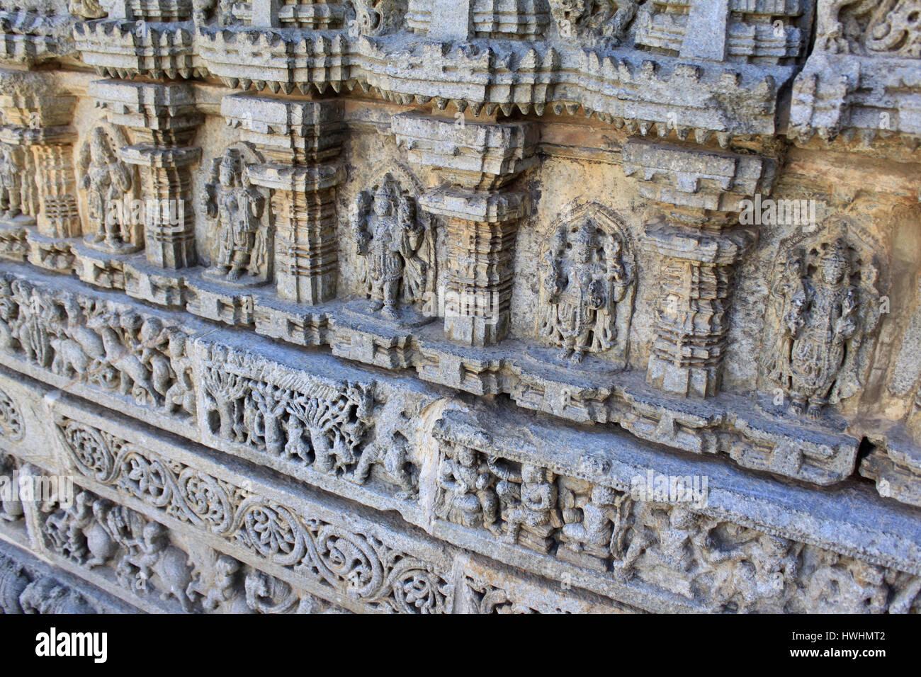 Fries Architektur nahaufnahme eines wandreliefs guß fries im tempel chennakesava