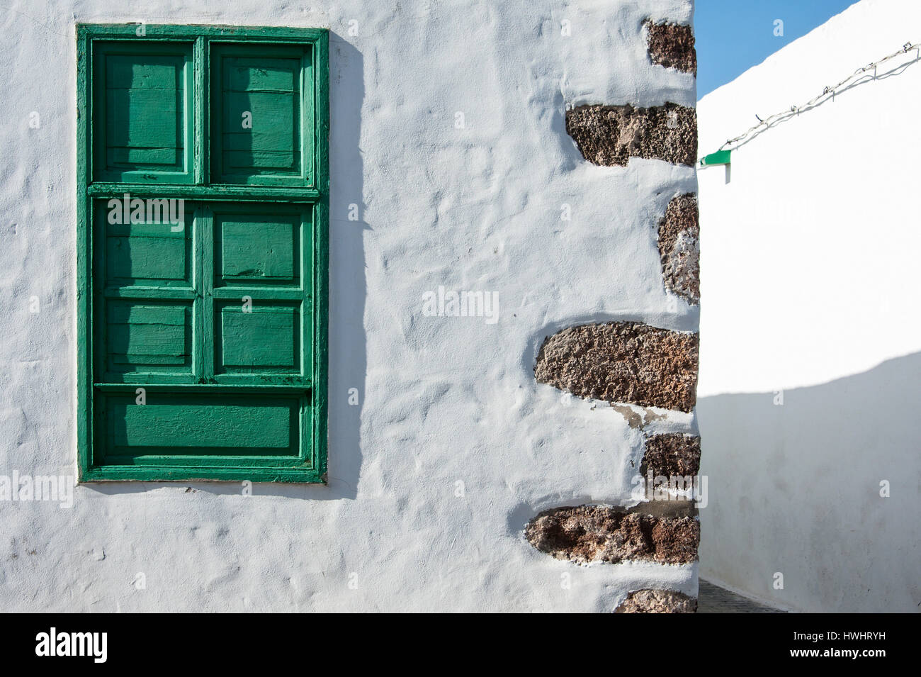 Reisen, Kanaren, Kanarische Inseln, Lanzarote: Zu Haus Mit gr?nem Holzfenster, Tequise. Stockbild