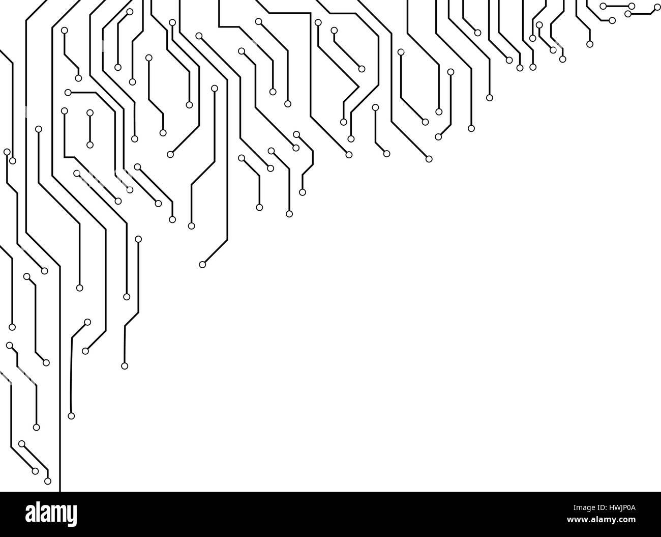 Vektor: Elektronische Schaltung Grenze auf weißem Hintergrund Stockbild