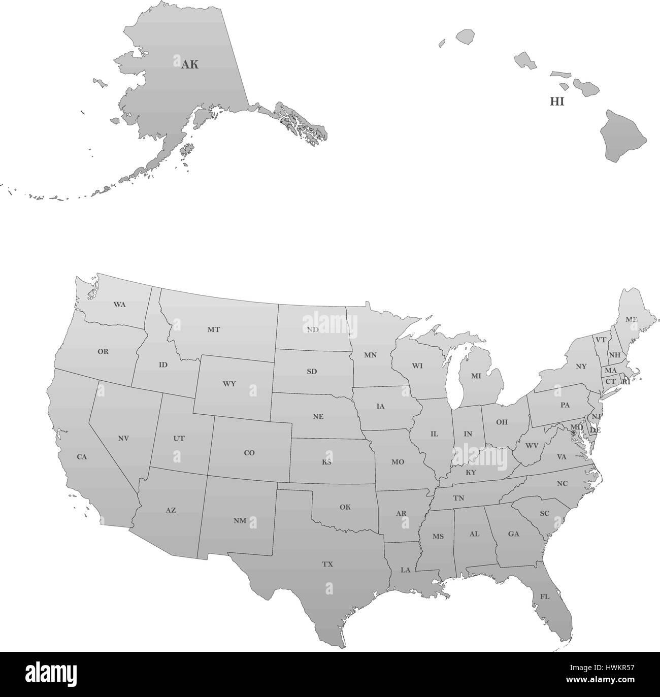 Detaillierte Karte der Vereinigten Staaten, einschließlich ...