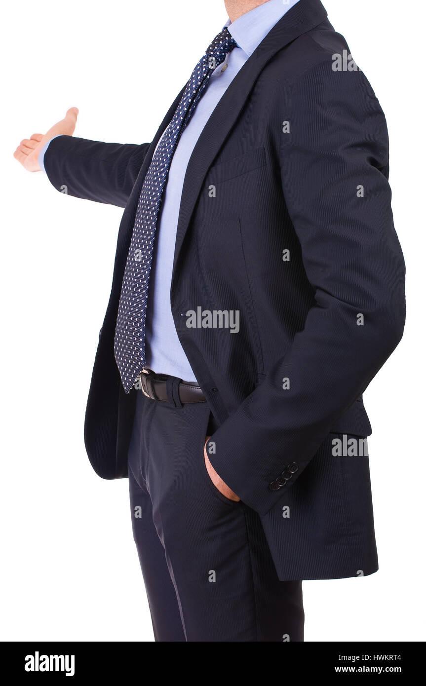 Geschäftsmann mit freundlichen Geste. Stockbild