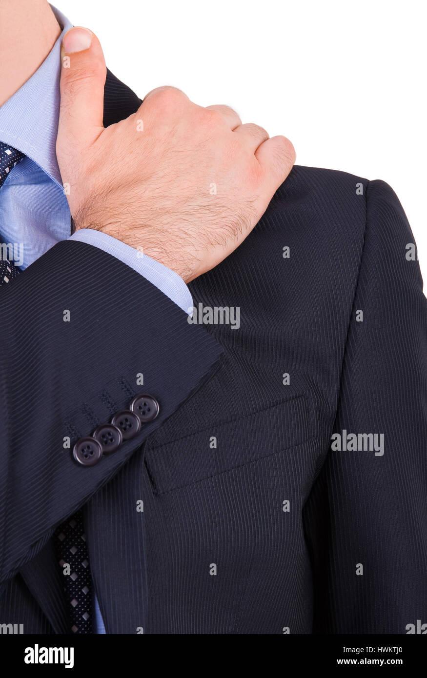 Geschäftsmann, leiden unter Schmerzen in der Schulter. Stockbild