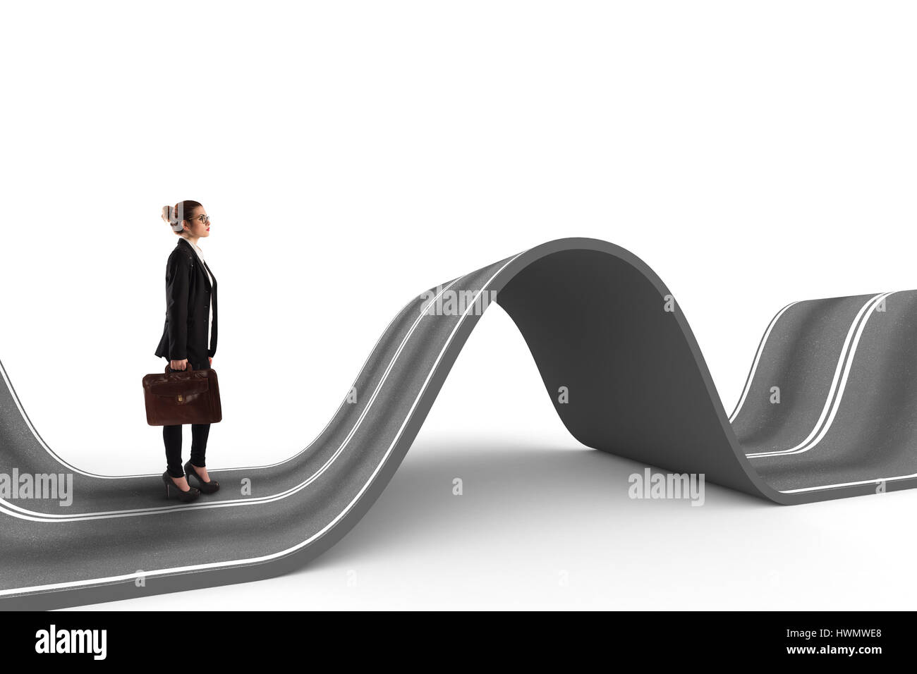 Schwieriger Weg. 3D Rendering Stockbild