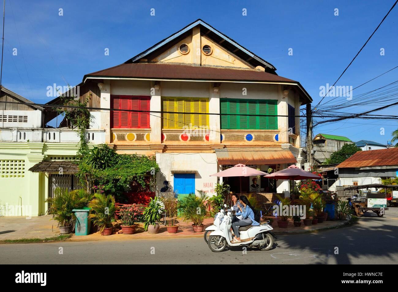 Kambodscha, Kampot Provinz Kampot, Haus im Kolonialstil Stockbild