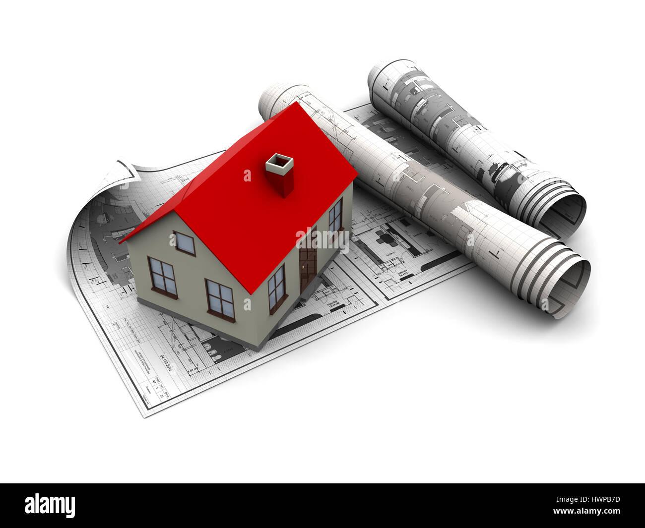 3d Illustration Building House Over Stockfotos & 3d Illustration ...