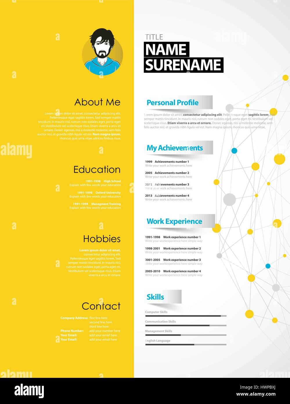 Kreative Cv Vorlage Mit Gelbem Papier Streifen Vektor Abbildung