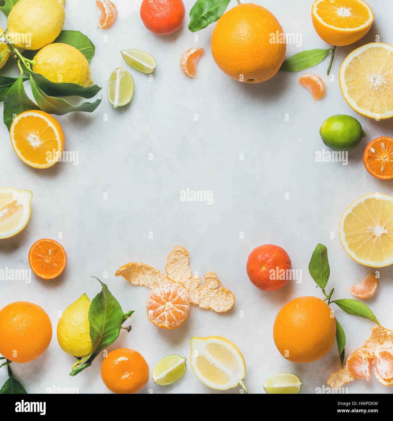 Vielzahl von frischer Zitrusfrüchte zur Herstellung von Saft oder smoothie Stockbild