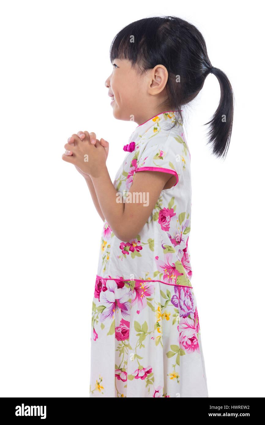 Asiatische chinesische Mädchen tragen Cheongsam mit Gruß Geste ich ...