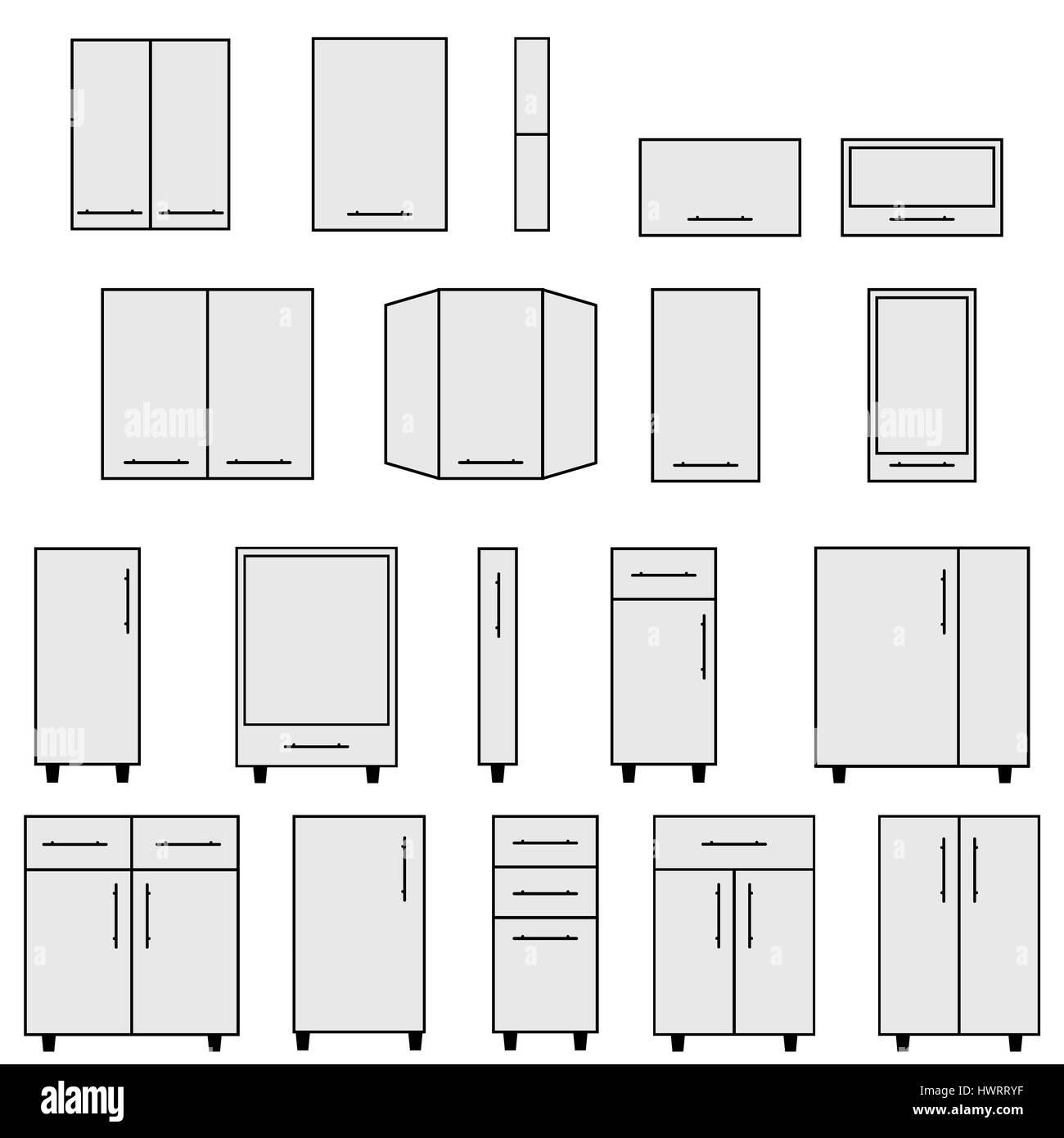 Beispiel für typische Objekte für modulare Küchen. Flache ...