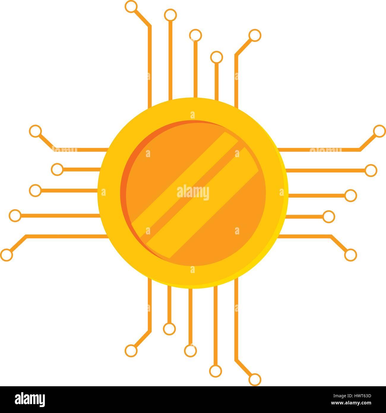 Münze mit elektrischer Schaltung Symbol Vektor Abbildung - Bild ...