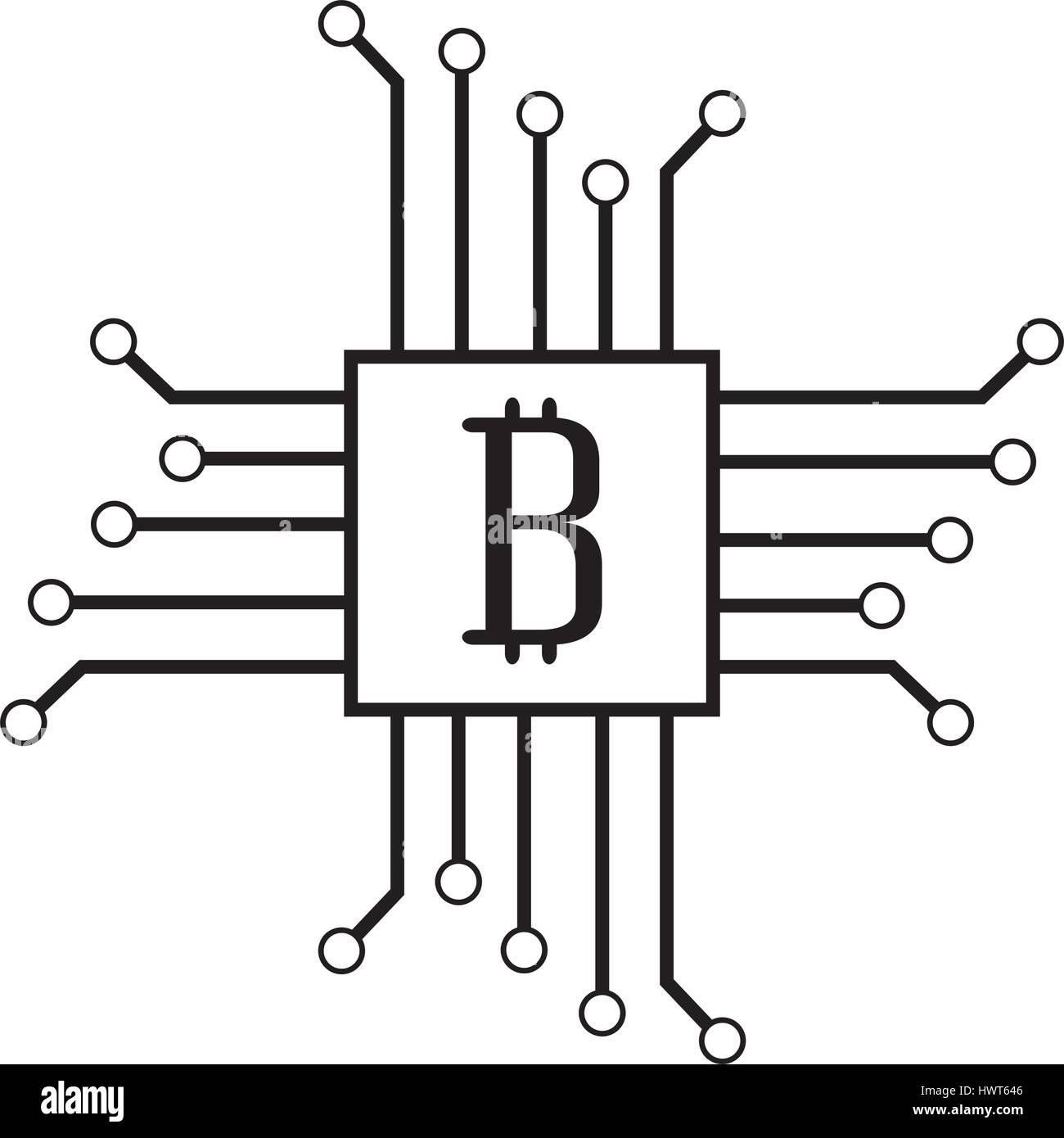 Schaltung mit Bitcoin-Symbol Stockbild