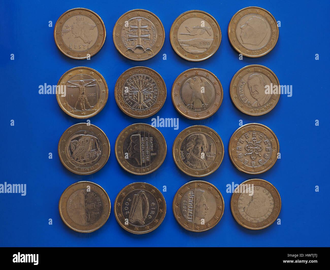 1 Euro Münze Geld Eur Währung Der Europäischen Union Vielen