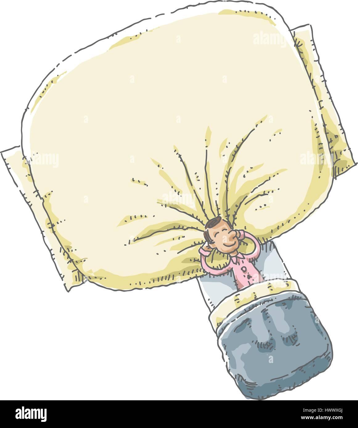 Ein Cartoon Mann Im Schlafanzug Im Bett Liegen Und Schlafen Mit Dem
