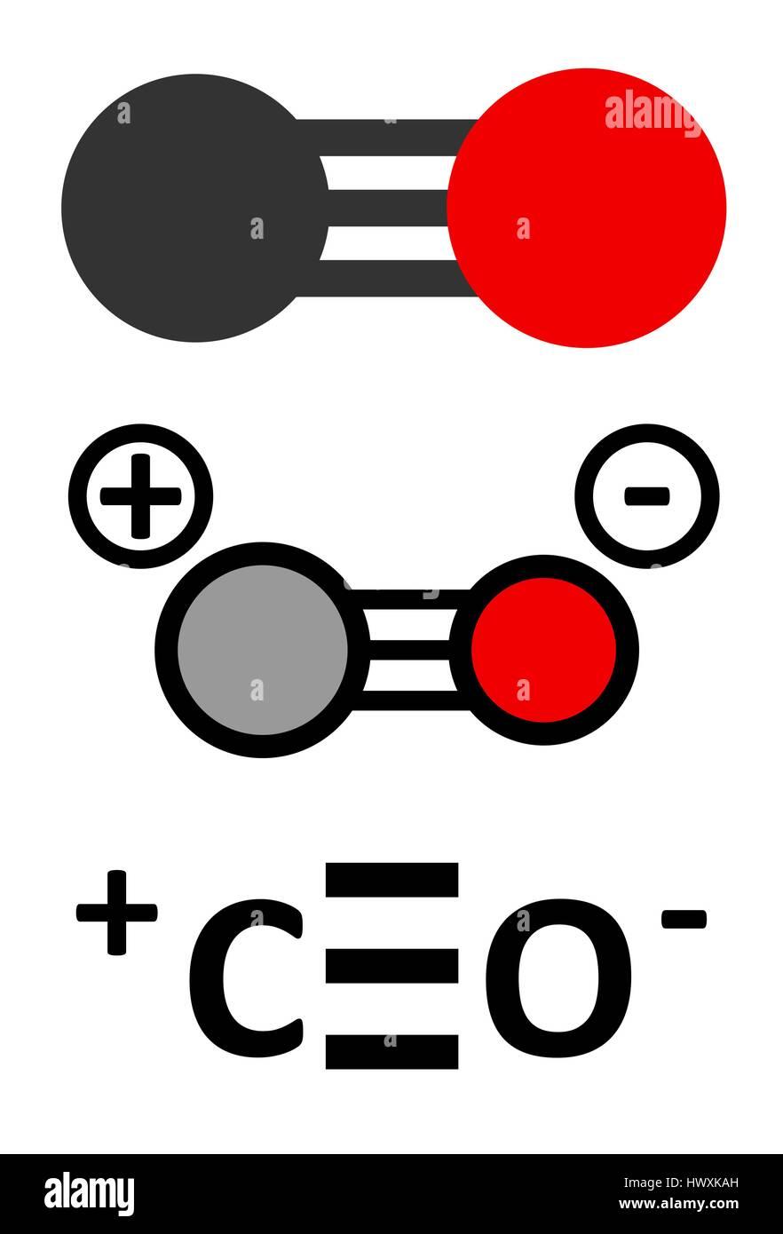 Kohlenmonoxid Co Giftgas Molekul Kohlenmonoxid Vergiftung Tritt